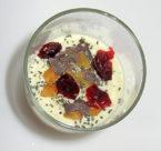 Vanille mit Mango, Chiasamen, dunkle Schokoladenflakes und Cranberry