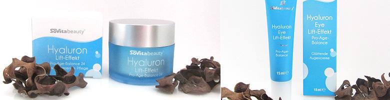 Hyaluron Tages- und Nachtcreme und Augencreme Sovita beauty Pflegeserie